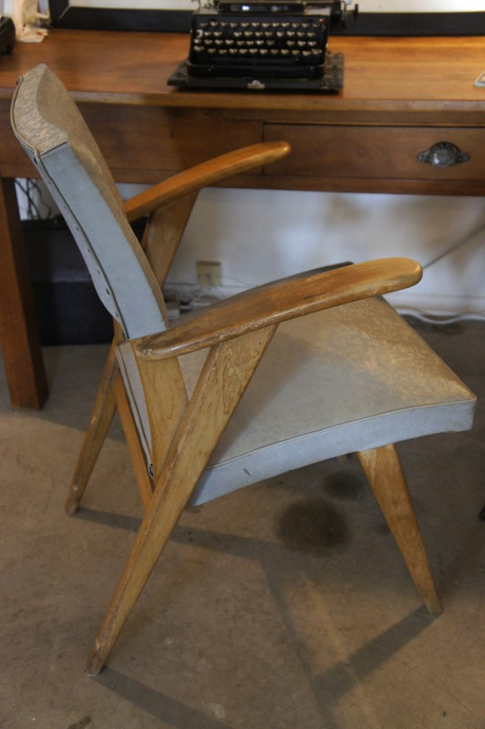 Vintage French Vinyl Armchair