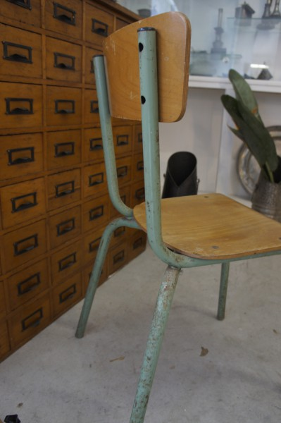 Vintage Metal And Wood School Chair