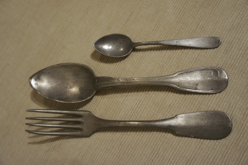 Ask a question about this product & Antique Pewter : 1800\u0027s French Pewter Cutlery Set